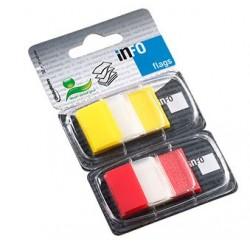INDEX ADEZIV PLASTIC 2*25*43MM 50 FILE GALBEN & ROSU INFO NOTES