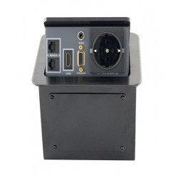 Priza masa 1 x Schuko, 2 x RJ45, 1 x 3,5mm audio, 1 x VGA, 1 x HDMI, EVOCONNECT JS-220H Negru