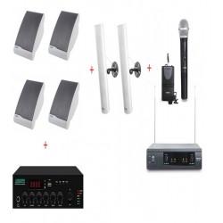 Pachet Sonorizare Biserica 120W Interior / Exterior cu Microfon de mana + Lavaliera wireless