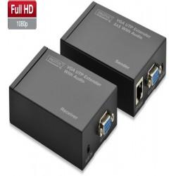 Extender VGA+audio prin 1 x cat5/6, 300m, Digitus, DS-53400