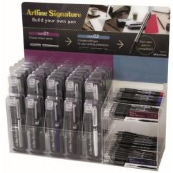 Display ARTLINE Signature Pen, 30 carcase pix + 48 rezerve/display - diverse culori