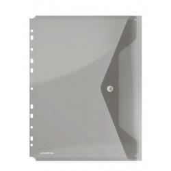 Folie protectie doc. A4 portret, inchidere cu capsa, 4/set, 200 microni, DONAU - fumuriu