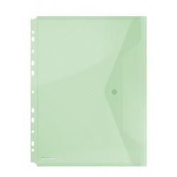 Folie protectie doc. A4 portret, inchidere cu capsa, 4/set, 200 microni, DONAU - verde transparent