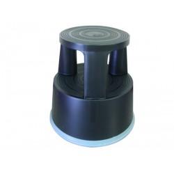 Taburet plastic cu rotile, pentru rafturi inalte, Q-Connect - negru