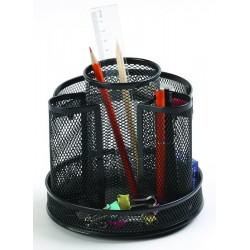 Organizer metalic Mesh, de birou, rotativ, Q-Connect - negru