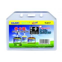 Buzunar dubla fata pentru ID carduri, PVC flexibil, 85 x 54mm, orizontal, 5 buc/set, KEJEA - transp