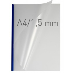 Coperti plastic PVC cu sina metalica 1.5mm, OPUS Easy Open - transparent mat/albastru