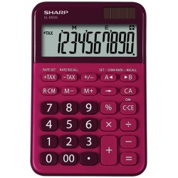 Calculator de birou, 10 digits, 149 x 100 x 27 mm, dual power, SHARP EL-M335BRD - rosu