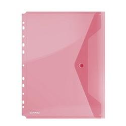 Folie protectie doc. A4 portret, inchidere cu capsa, 4/set, 200 microni, DONAU - rosu transparent