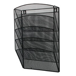 Display metalic Mesh, pentru pliante si cataloage, de perete, 5 x A4, Q-Connect - negru