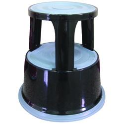 Taburet metalic cu rotile, pentru rafturi inalte, Q-Connect - negru