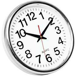 Ceas de perete, D-28 cm, cifre arabe, cadran alb, rama plastic cromata, Q-Connect Budapest