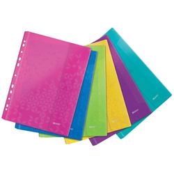 Folie de protectie LEITZ WOW, cu arici, PP, A4, 40 coli, 6 buc/set, diverse culori