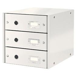Cabinet cu sertare Leitz WOW Click & Store, 3 sertare, carton laminat, A4, alb