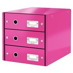 Cabinet cu sertare Leitz WOW Click & Store, 3 sertare, carton laminat, A4, roz