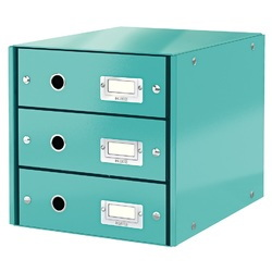 Cabinet cu sertare Leitz WOW Click & Store, 3 sertare, carton laminat, A4, turcoaz