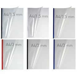 Coperti plastic PVC cu sina metalica 13mm, OPUS Easy Open - transparent cristal/rosu