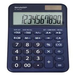Calculator de birou, 10 digits, 149 x 100 x 27 mm, dual power, SHARP EL-M335BBL - bleumarin