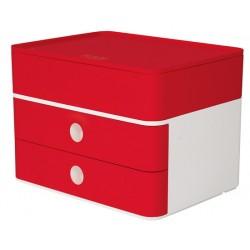 Suport cu 2 sertare + cutie ustensile HAN Allison Smart Box Plus - rosu cherry