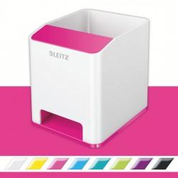 Suport instrumente de scris Leitz WOW, PS, cu amplificare sunet, culori duale, alb-roz