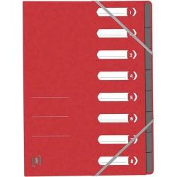 Mapa carton pentru sortare cu 8 separatoare si index, elastic pe colturi, OXFORD Top File - rosu
