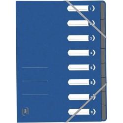 Mapa carton pentru sortare cu 8 separatoare si index, elastic pe colturi, OXFORD Top File-albastru