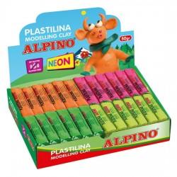Display plastilina fluorescenta, 24 x 50gr./display, ALPINO - 6 culori asortate