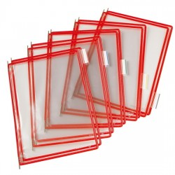 Buzunare prezentare pentru display, A4, (10 buc/set), rama metalica, TARIFOLD - rosu